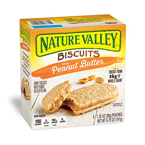 Nature Valley Biscuits, Peanut Butter,1.35 Oz, 5 Count (Pack of 12)
