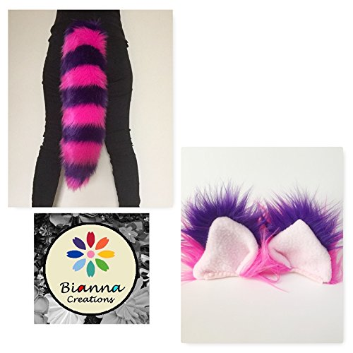 Bianna Creations Cheshire Cat Costume Ears and Tail Set, Luxury Striped Faux Fur Hot Pink Purple, Handmade, Halloween Costume Accessory (Ears and 35