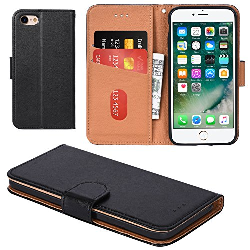 iPhone 8 Case, iPhone 7 Case, Aicoco Flip Cover Leather, Phone Wallet Case for Apple iPhone 8/7 (4.7inch) - Black