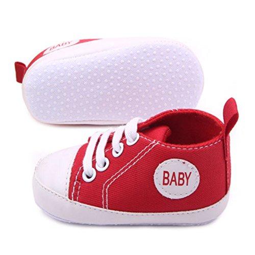 Xiangze bebe zapatos bebe suave suela antideslizante cuna zapatos de lona Rojo