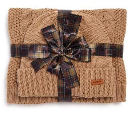 Barbour Women's Cable Knit Hat & Scarf Set - Mink (Barbour Cap)