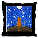 CafePress - Orange Tabby CAT Starry Night ART Pillow - Throw Pillow, Decorative Accent Pillow