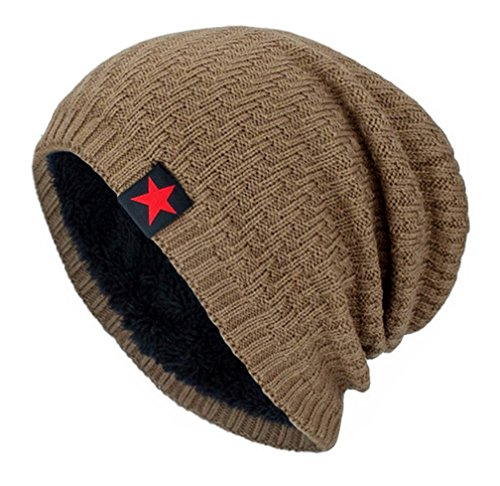 COOLSOME Vintage Fatigue Red Star Mao Army Military Hat Knit Beanie Cap (Beanie Khaki) (Fatigue Style Hat)