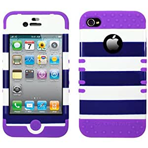 DEEP OCEAN BLUE STRIPE DSC W/ LIGHT PURPLE RUBBER COVER for iPhone 4 / 4S with Universal Strap(Lanyard) as Free Gift