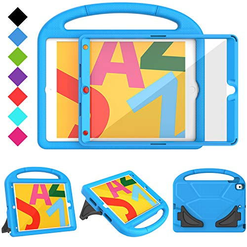 TIRIN Kids Case for New iPad 10.2 2019, iPad 7th Generation Case with Built-in Screen Protector Shockproof Light Weight Handle Friendly Stand Kids Case for iPad 7th Gen 10.2 2019 Latest Model - Blue