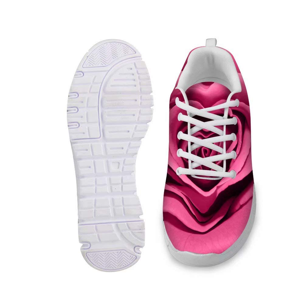 Advocator Womens Mens Trainers Floral Pattern Sneakers Running Shoes 3D Digital Printing Rose Flower Design
