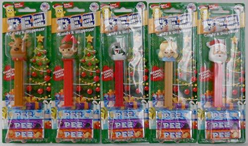 5 Christmas Pez in Blister Card Packages Bundle - Snow Globe, Red/Green Elf (2018), 2018 Reindeer, Angel, and Santa Claus - Includes Sugar Cookie Seasonal Candy Flavor