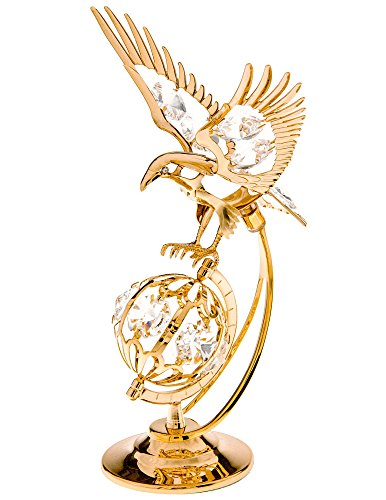 Eagle Over Globe 24k Gold Plated Metal Figurine with Spectra Crystals by Swarovski