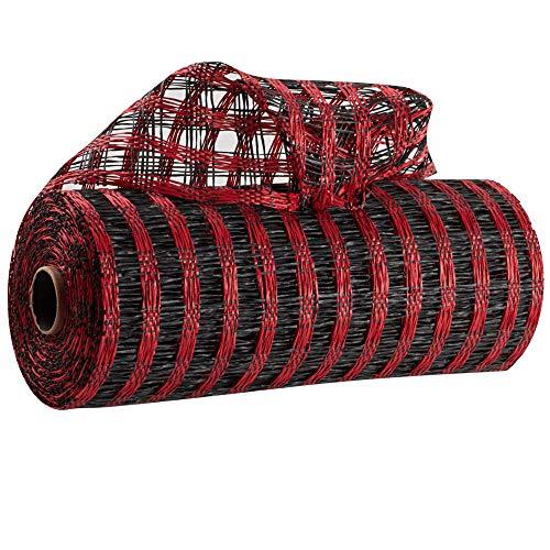 Buffalo Plaid Black Red Deco Mesh - 10
