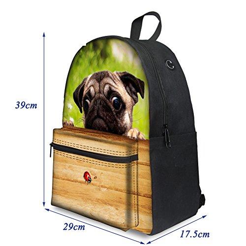 Trip Daypacks Travelling Bag Boys for Weekend ThiKin Black Stylish Backpacks Cat Print Hiking Women School dog2 College Men Bookbags Girls Casual Laptop Backpack Canvas Teenagers Casual Dog xqSpBwxT7