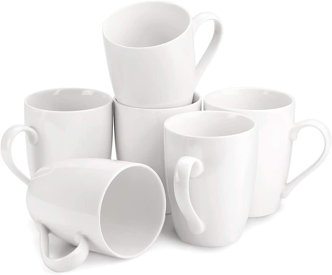 MECOWON 8 OZ Porcelain Mugs, Set of 8, Tea and Coffee Mugs, White