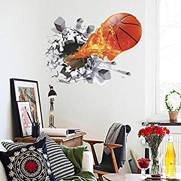 2d9e326de55a Buy World Beauty s 3D Basketball Wall Stickers for Children s Room  Removable Kids Room Sport Wall Decals Home Decor Living Room Wall Pictures  Online at Low ...