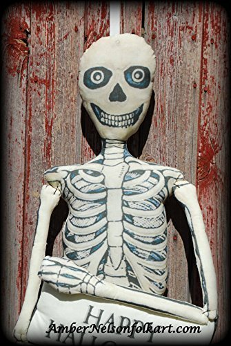 Vintage Skeleton Man Stuffed Door Hanger - FREE Pillow Added - 58 x 16 Inch - Happy Halloween by Amber Nelson Folk Art