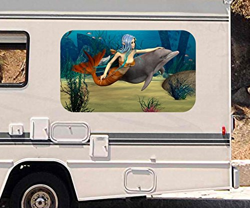 3D Autoaufkleber Meerjungfrau Delfin Ozean Meer Kinderzimmer Wohnmobil Auto Fenster Motorhaube Sticker Aufkleber 21A654, Größe 3D sticker ca. 161cmx 96cm