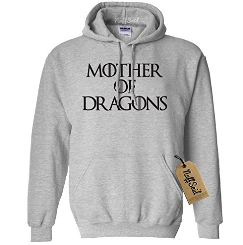 NuffSaid Mother of Dragons Hooded Sweatshirt GOT Pullover - Unisex Hoodie (Small, Grey w/Black Ink)