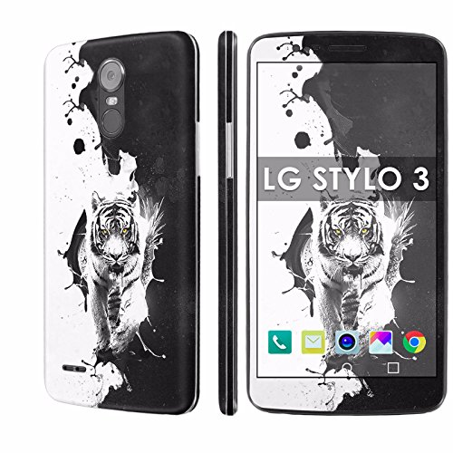 (LG Stylo 3 Decal Mania Skin Sticker [Matching Wallpaper] - [Ying Yang Tiger] for LG Stylo 3 [5.7