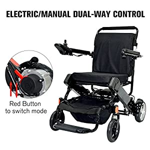 HomCom Lightweight Portable Folding Heavy Duty Electric Mobility Wheelchair from Aosom Llc