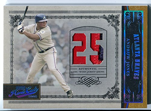 2005 Playoff Prime Cuts ANDRUW JONES Rare Multi-Color Game Worn Patch Material Jersey Number Prime Card #76 Serial Numbered #5/10 Platinum Foil Atlanta Braves New York - Platinum Number American