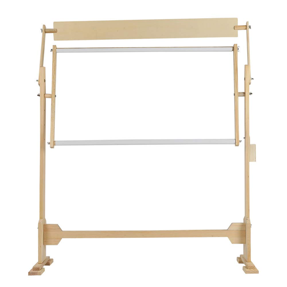 Wooden Frame Cross Stitch Floor Stand 360/° Rotated Needlework Stand Holder Lap Table Craft Sewing Tool with Scroll Frame Adjustable Embroidery Stand