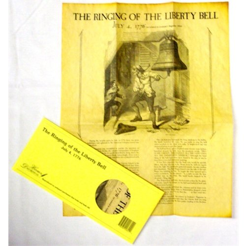 THE RINGING OF THE LIBERTY BELL JULY 4TH 1776 AUTHENTIC REPRODUCTION ON HAND-FINISHED ANTIQUED PARCHMENT PAPER