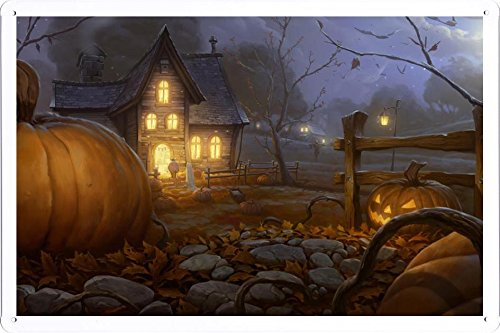 Tin Sign Poster Halloween Trick Or Treaters (20x30cm) By Nature Scene Painting (Halloween Sign For Trick Or Treaters)