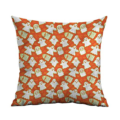 ArrDecor Throw Pillow Cushion Cover,Burnt Orange,Funny Halloween Ghost,Throw Pillows for Bed Teen Girls,W 18