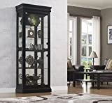 Bell'O CC30-9643-X334 Louie 64 Inch Lighted Floor Standing Wall Keepsakes Curio Cabinet with 4 Adjustable Glass Shelves, Black