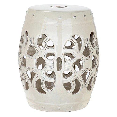 Safavieh Castle Gardens Collection Imperial Vine Cream Glazed Ceramic Garden Stool
