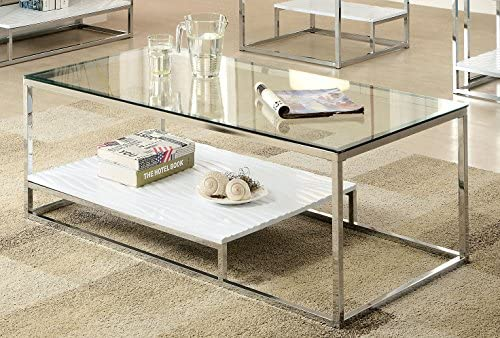Furniture of America Gacelle cocktail table, 54 x 17.75 x 26.25 , White Silver