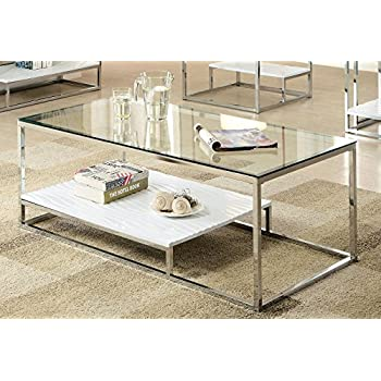 Amazoncom Coaster Glass Top Coffee Table in Chrome Kitchen Dining