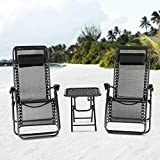 Mecor 3PCS Zero Gravity Lounge Chairs Adjustable Recliner Patio Chairs Folding Recliner Outdoor Yard Beach