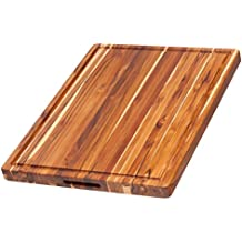 Teak Cutting Board - Rectangle Board With Hand Grip And Juice Canal (24 x 18 x 1.5 in.) - By Teakhaus