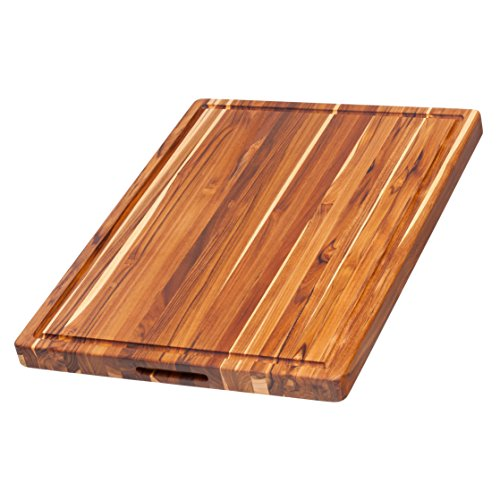 Proteak Rectangle Teak Cutting Board with Hand Grip and Juic