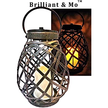 Brilliant & Mo Metal Rattan Solar Hanging Lanterns for Outdoors Garden Decoration with Flickering Candle Light For Home Patio Deck Lawn Yard Decor