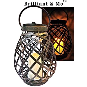 51Nn8gE9rvL. SS300  - Brilliant & Mo Metal Rattan Solar Hanging Lanterns for Outdoors Garden Decoration with Flickering Candle Light For Home Patio Deck Lawn Yard Decor