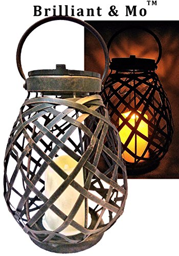 51Nn8gE9rvL - Brilliant & Mo Metal Rattan Solar Hanging Lanterns for Outdoors Garden Decoration with Flickering Candle Light For Home Patio Deck Lawn Yard Decor