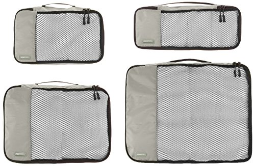 AmazonBasics 4-Piece Packing Cube Set - Small, Medium, Large, and Slim, Gray
