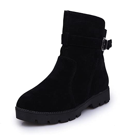 Women Winter Warm Snow Ankle Boots Buckle Match Solid Martin Boots Shoes (US 10.5 Black)
