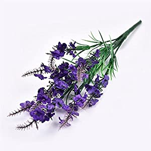 FYYDNZA 1Pcs Romantic 9 Plastic Branch Artificial Flowers Lavender Table Fake Wedding Party Flower Flower Silk Decoration 5