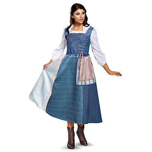 Disney Women's Belle Village Dress Deluxe Adult Costume, Multi, Small