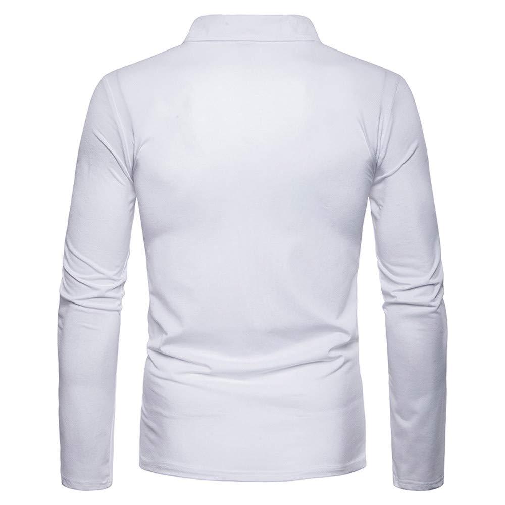 Sagton Mens Autumn Winter Casual Stripe Collar Down Button Long Sleeve Polo Shirt Tops