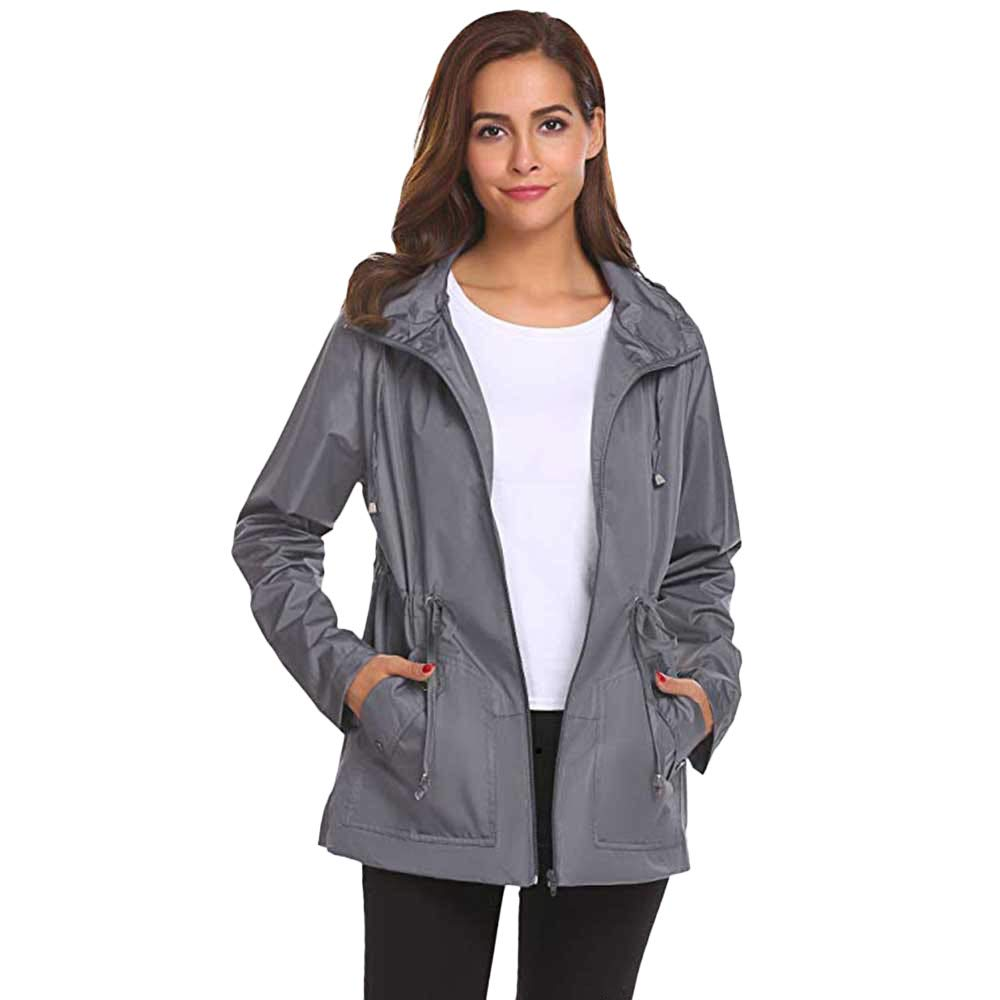 Holywin Womens Outdoor Waterproof Lightweight Raincoat Hooded Overcoat Rain Jacket