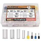 Ruikarhop 440pcs AWG (2/0 1/0 2 4 10 12 14 16) Wire Ferrules Kits Crimp Terminal Connector Sleeves