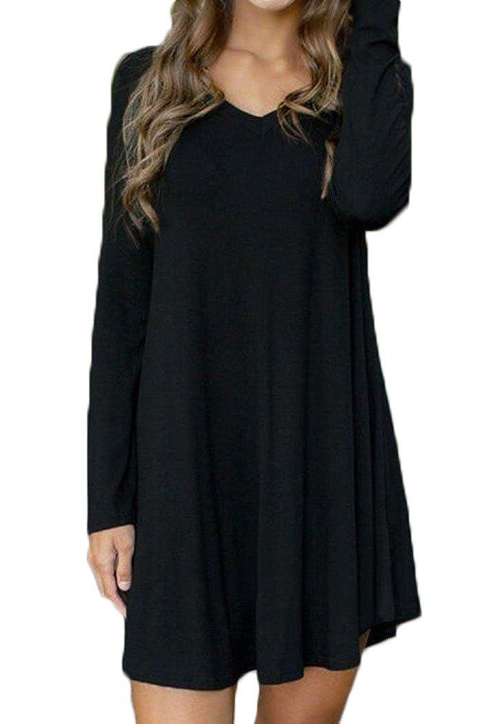 Halife donne Manica lunga T-shirt con scollo a V asimmetrico Alto Basso tunica Top Bloe