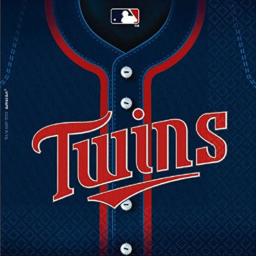 Amscan Sports & Tailgating MLB Party Minnesota Twins Luncheon Napkins (36 Piece), Blue/Red, 6.5 x (Minnesota Twins Lunch)