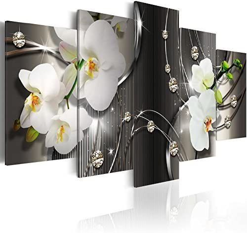 White Orchid Flowers Contemporary Canvas Print Art Vibrant Floral Painting Modern Wall Picture Decor HD Fashion Artwork Framed Ready to Hang 60×30