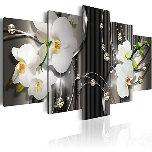 Everlands Art White Orchid Flowers Contemporary Canvas Print Art Vivid Floral Diamond Painting Modern Picture Wall Decor HD Fashion Artwork Framed and Stretched (40x20, Greyness)