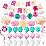 Eightnight Paper Craft Sets for DIY Happy Birthday Decorations including Banner,Tissue Paper Honeycomb Pom Pom Ball lanterns,Pom Pom Flowers,Ribbons, Balloons