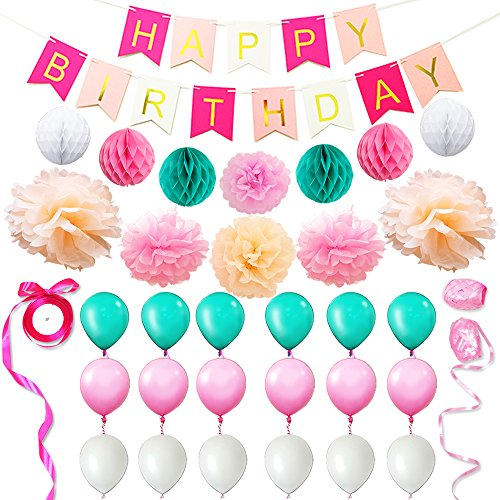 Eightnight Paper Craft Sets for DIY Happy Birthday Decorations including Banner,Tissue Paper Honeycomb Pom Pom Ball lanterns,Pom Pom Flowers,Ribbons, Balloons -
