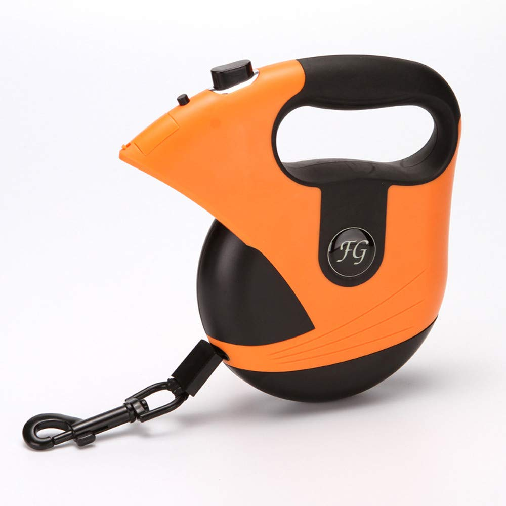 Pet Leash Retractable Automatic Abs Nylon Rope Built-in Night Light Night Warning Strip Portable Mini Wear-Resistant 360 Degree Rotating Seven Color Optional,Orange by DJX (Image #1)